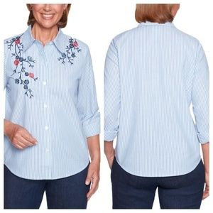 Alfred Dunner Flash Stripe Top Floral Embroidered